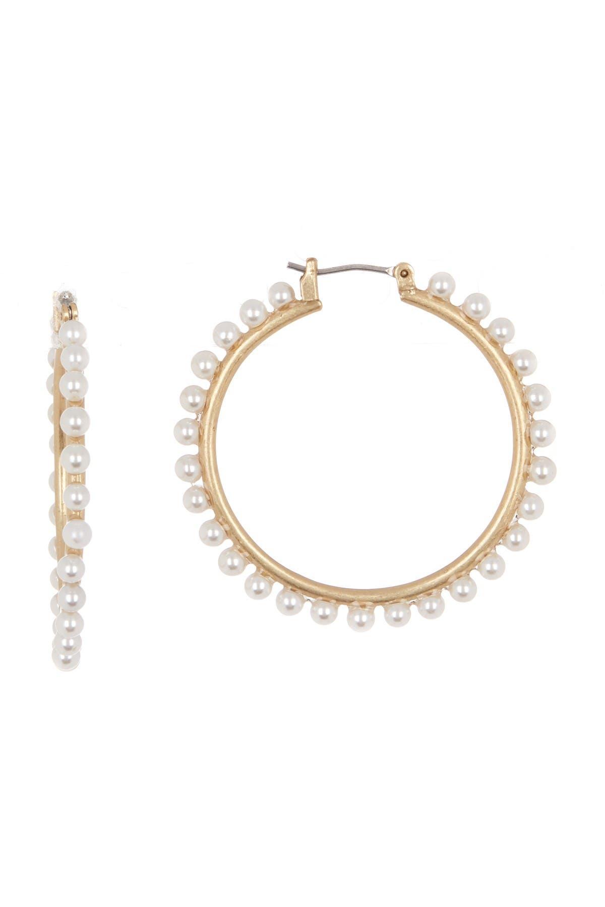 Image of Lucky Brand Imitation Pearl Beaded Hoop Earrings