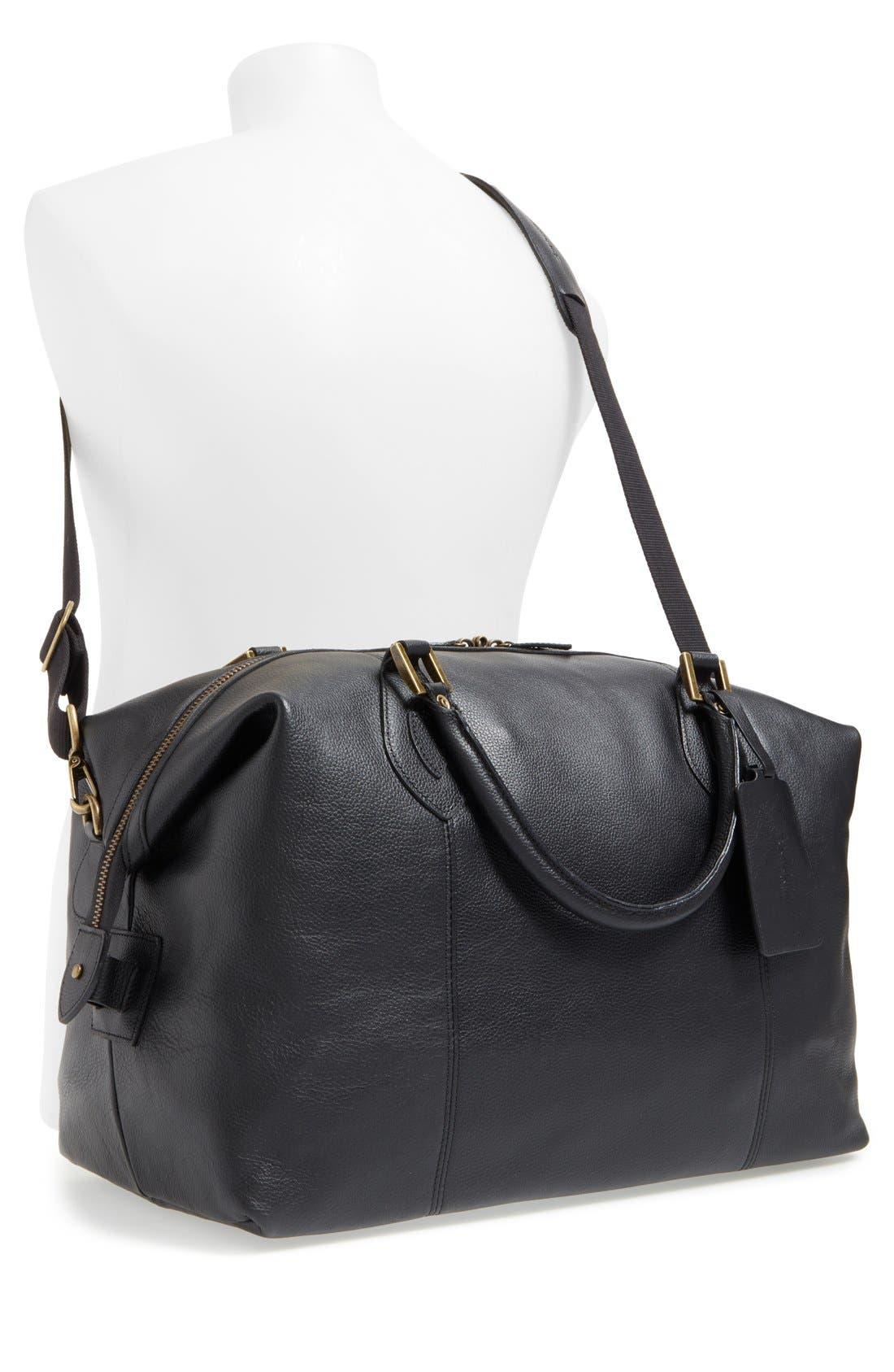 ,                             Leather Duffle Bag,                             Alternate thumbnail 2, color,                             BLACK