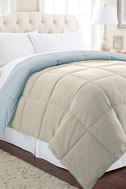 Image of Modern Threads Down Alternative Reversible King Comforter - Oatmeal/Dusty Blue