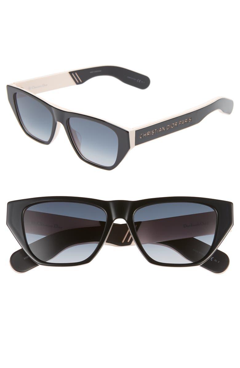 DIOR Insidout2s 54mm Flat Top Sunglasses, Main, color, BLACKPINK/ BLACK BLUE CRYS