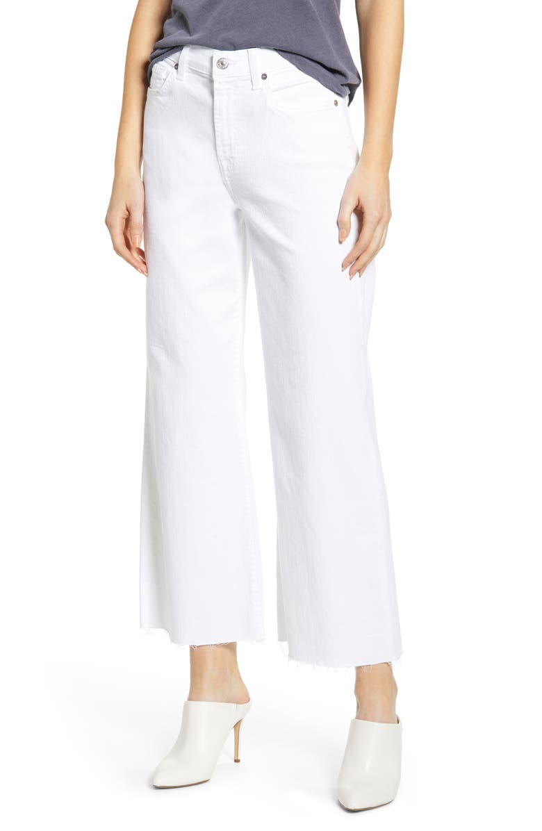 7 FOR ALL MANKIND<SUP>®</SUP> Alexa High Waist Crop Wide Leg Jeans, Main, color, WHITE RUNWAY DENIM