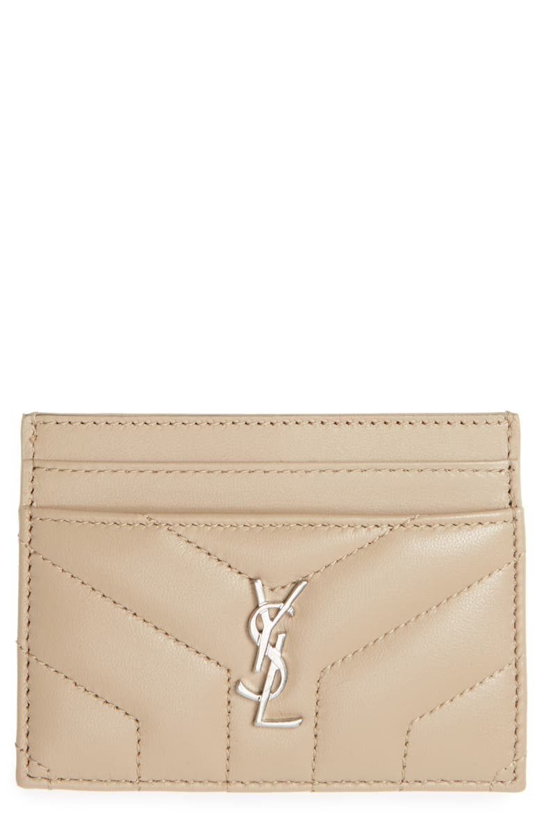 SAINT LAURENT Loulou Monogram Quilted Leather Credit Card Case, Main, color, DARK BEIGE