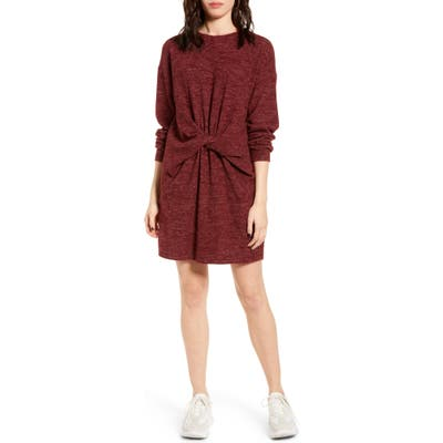 All In Favor Twist Front Long Sleeve Sweater Dress, Orange