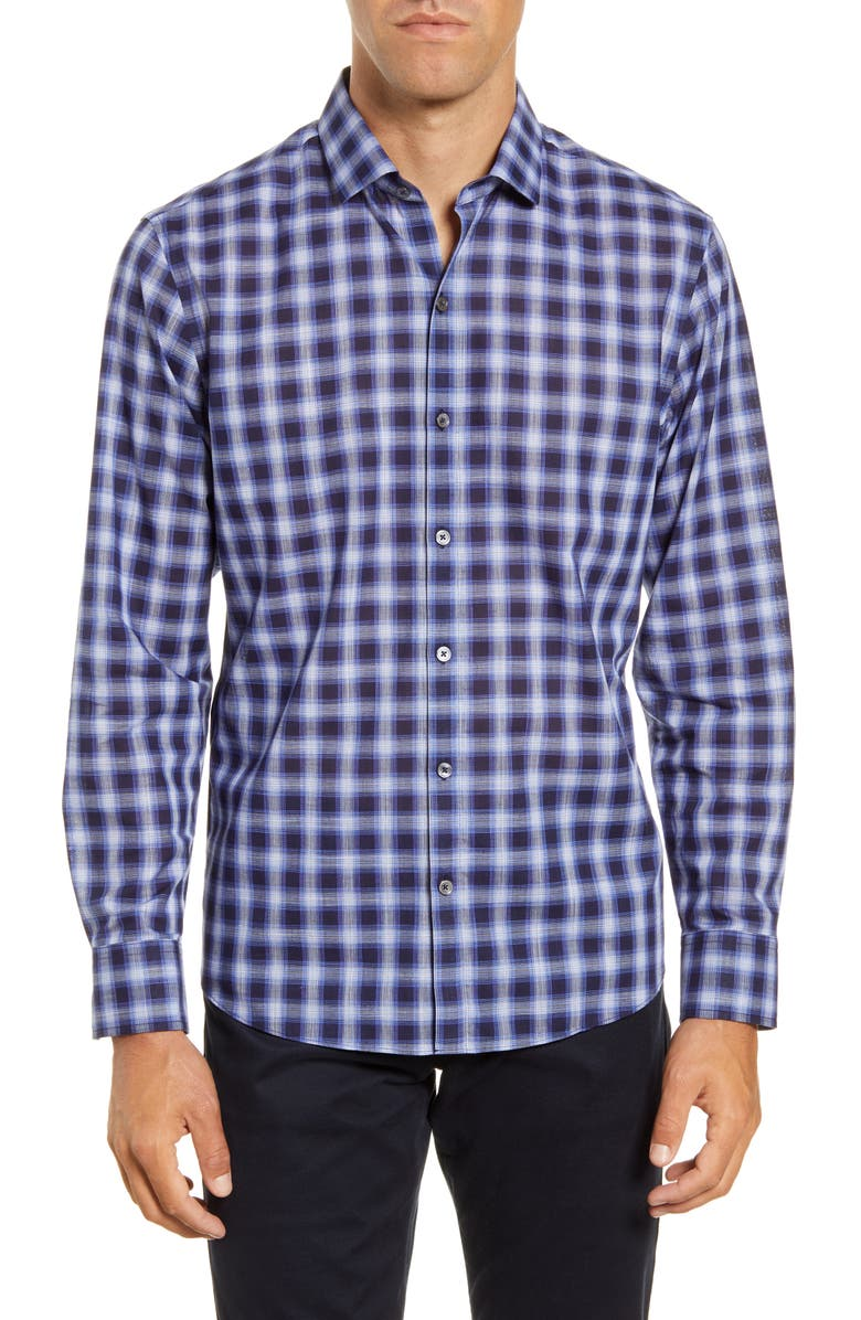 ZACHARY PRELL Alessandro Regular Fit Plaid Button-Up Shirt, Main, color, BLUE