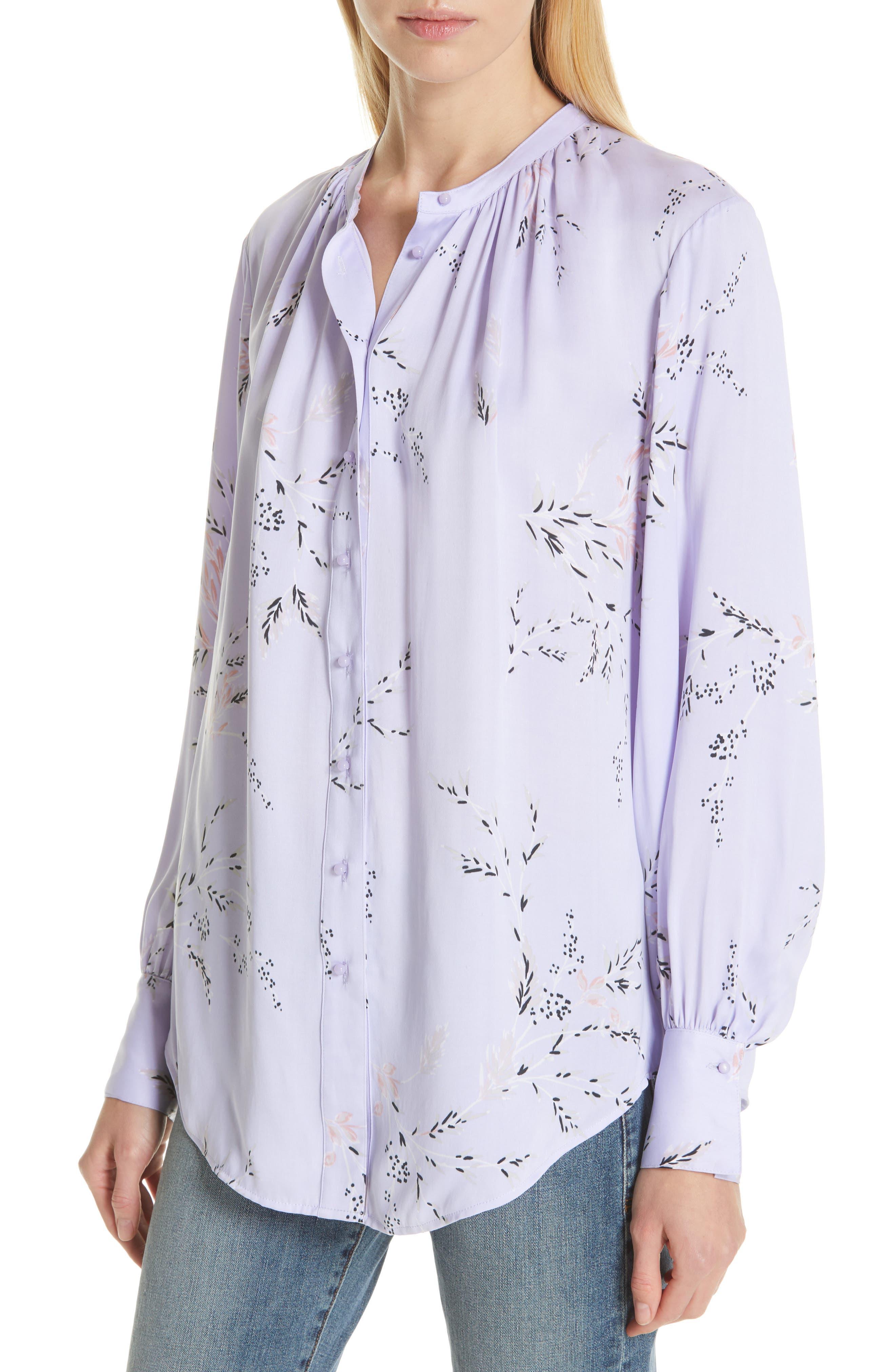 ,                             Causette Silk Blend Shirt,                             Alternate thumbnail 4, color,                             LAVENDER MULTI