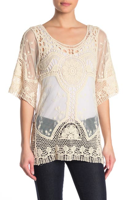 Image of Forgotten Grace 3/4 Sleeve Crochet Lace Blouse