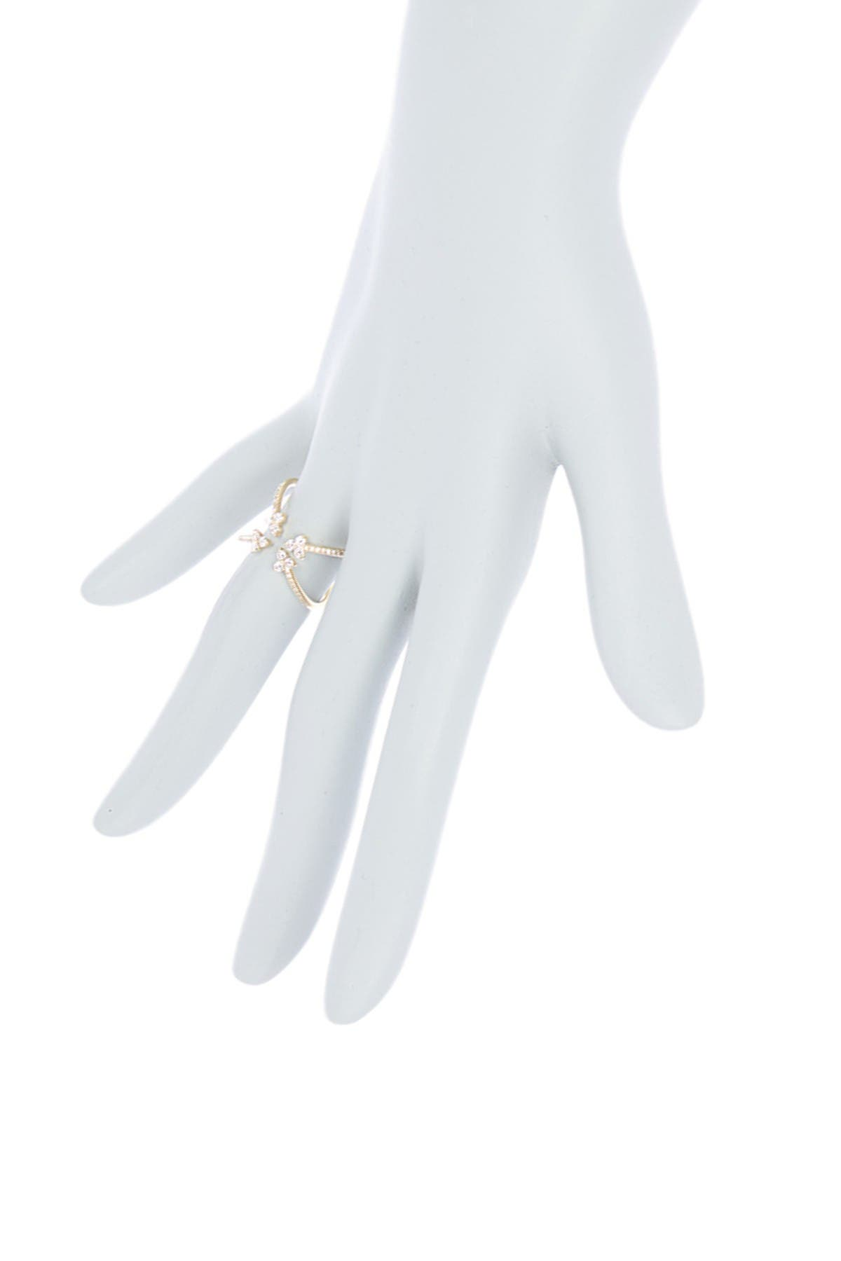 Image of EF Collection 14K Yellow Gold 4-Way Open Arrow Diamond Ring - Size 7