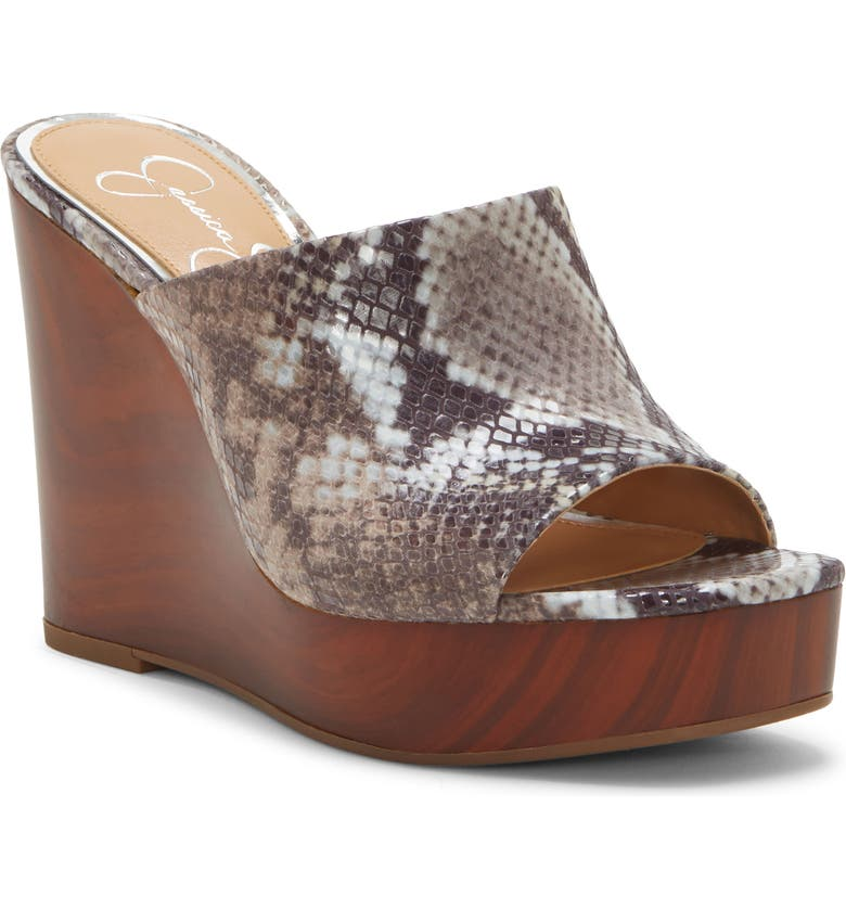 JESSICA SIMPSON Shantelle Wedge Slide Sandal, Main, color, TOTALLY TAUPE FABRIC