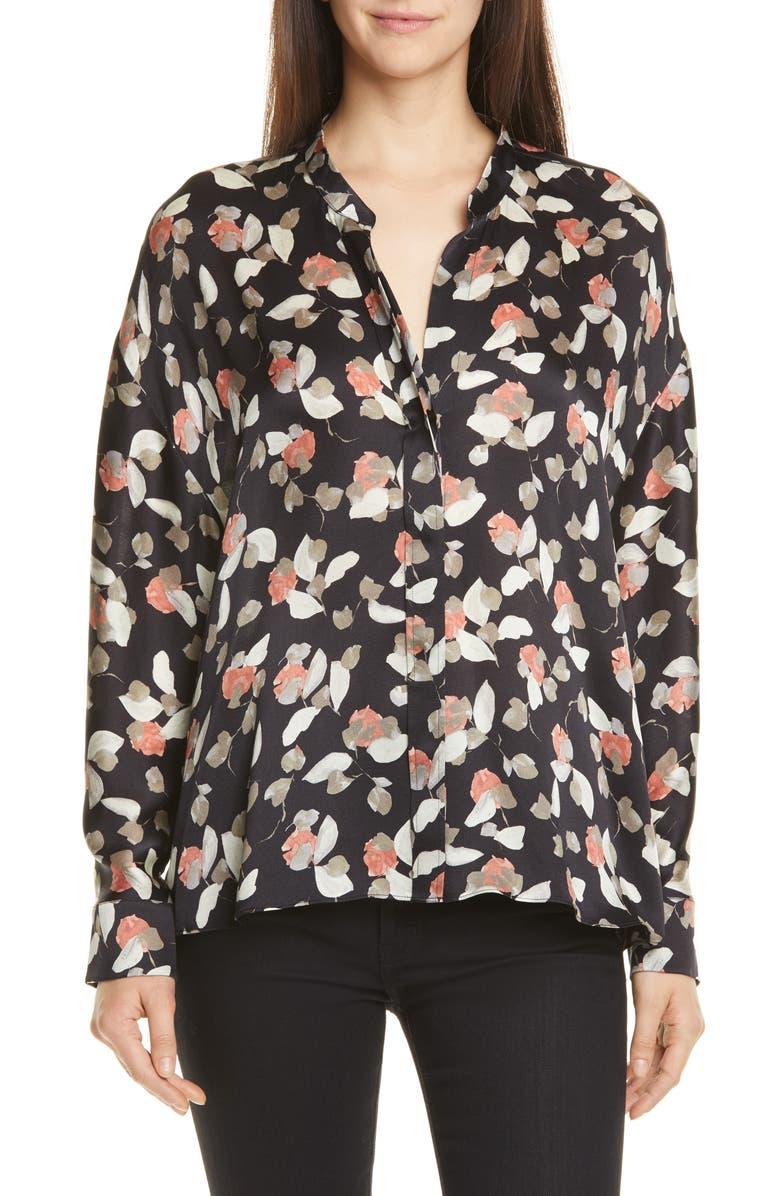 VINCE Watercolor Petal Silk Blouse, Main, color, BLACK
