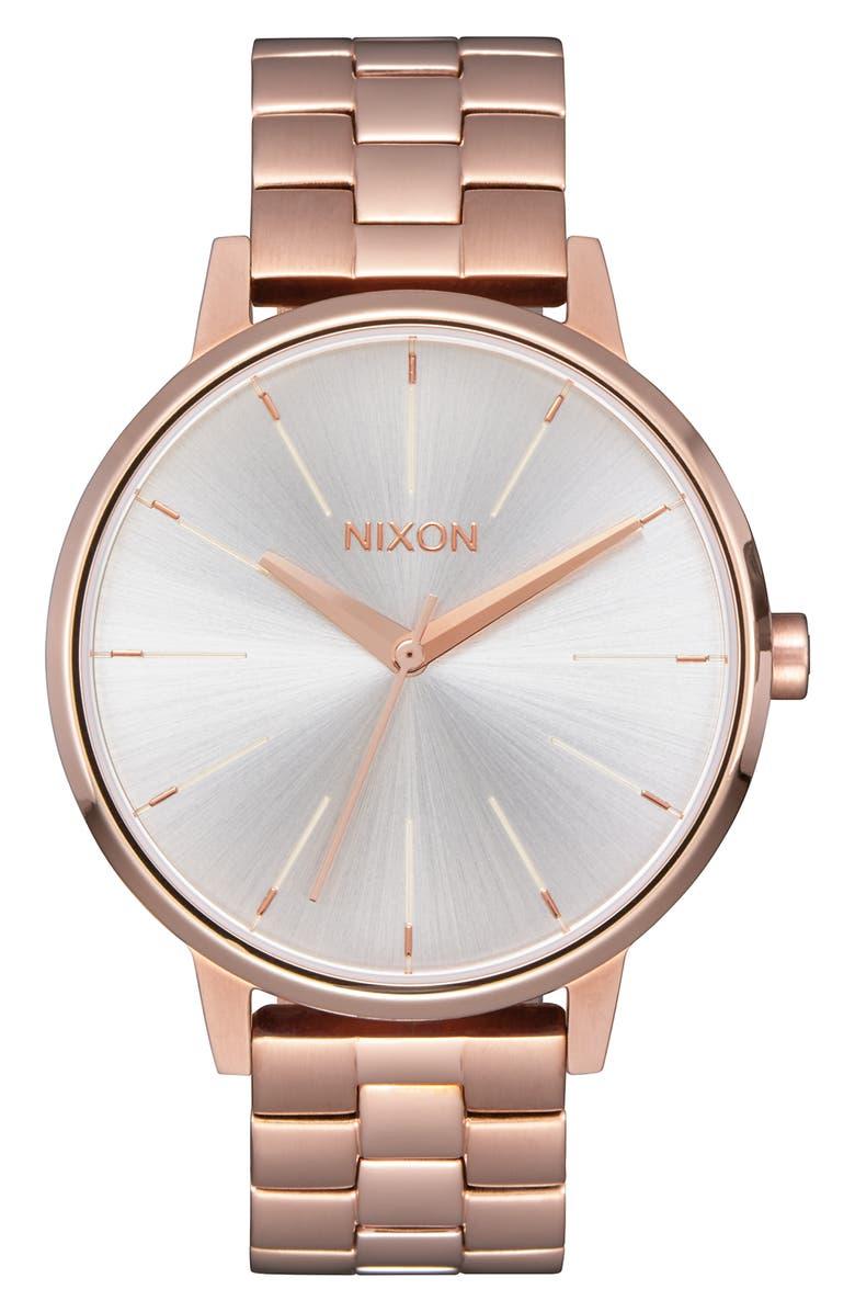 NIXON 'The Kensington' Bracelet Watch, 37mm, Main, color, ROSE GOLD/ WHITE