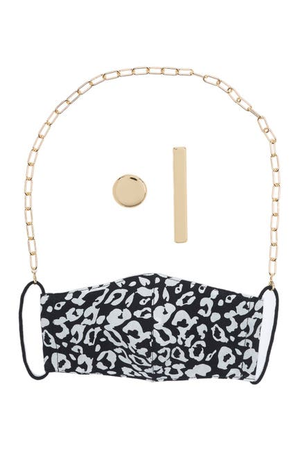 Image of Panacea Gold Chain Leopard Print Face Mask, Mash Chain, & Stud Earrings 3-Piece Set