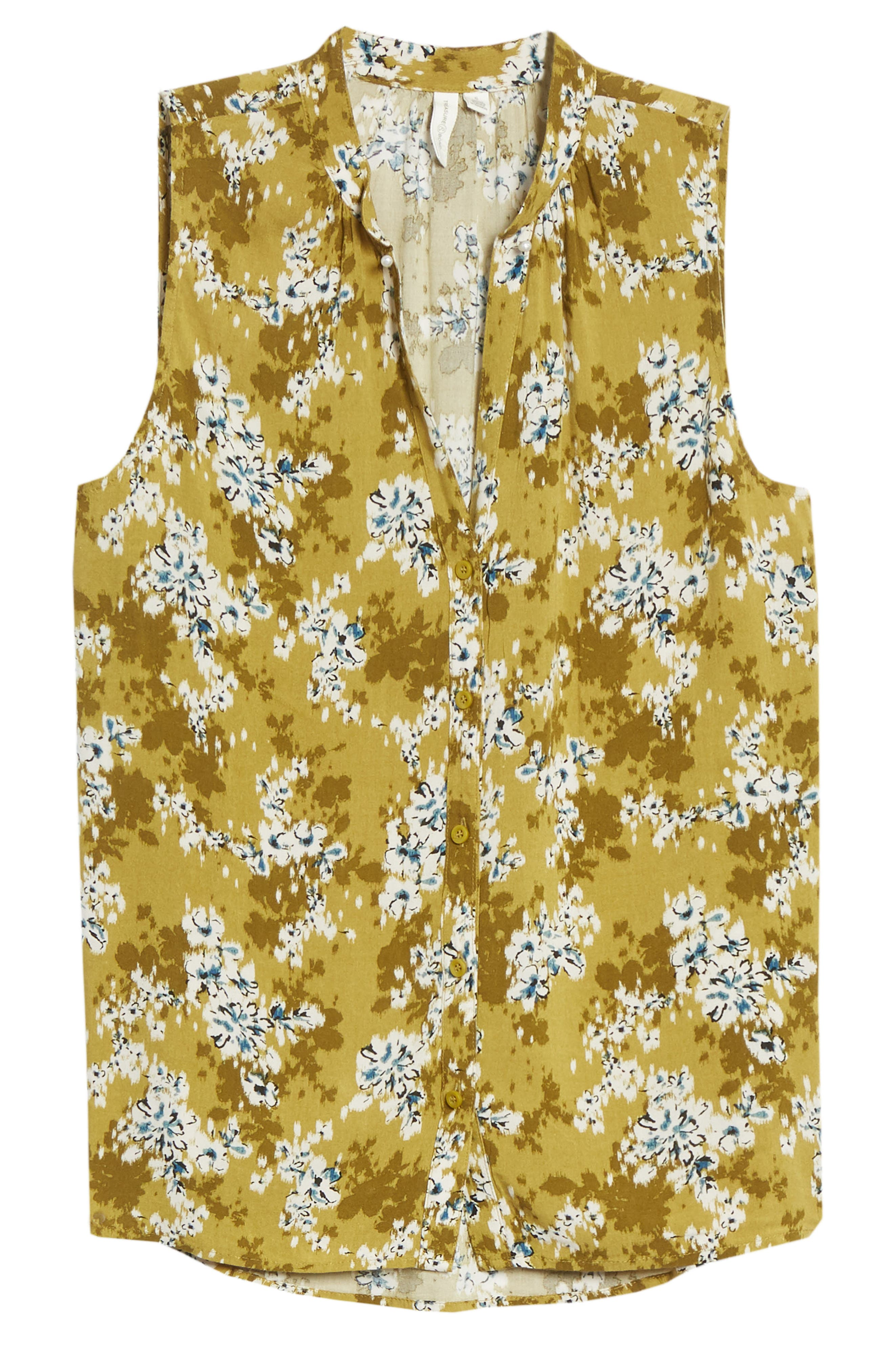 An ikat-inspired floral pattern blooms on an airy woven top that\\\'s a sunny style standby. When you buy Treasure & Bond, Nordstrom will donate 2.5% of net sales to organizations that work to empower youth. Style Name: Treasure & Bond Floral Print Sleeveless Shirt. Style Number: 5984980. Available in stores.