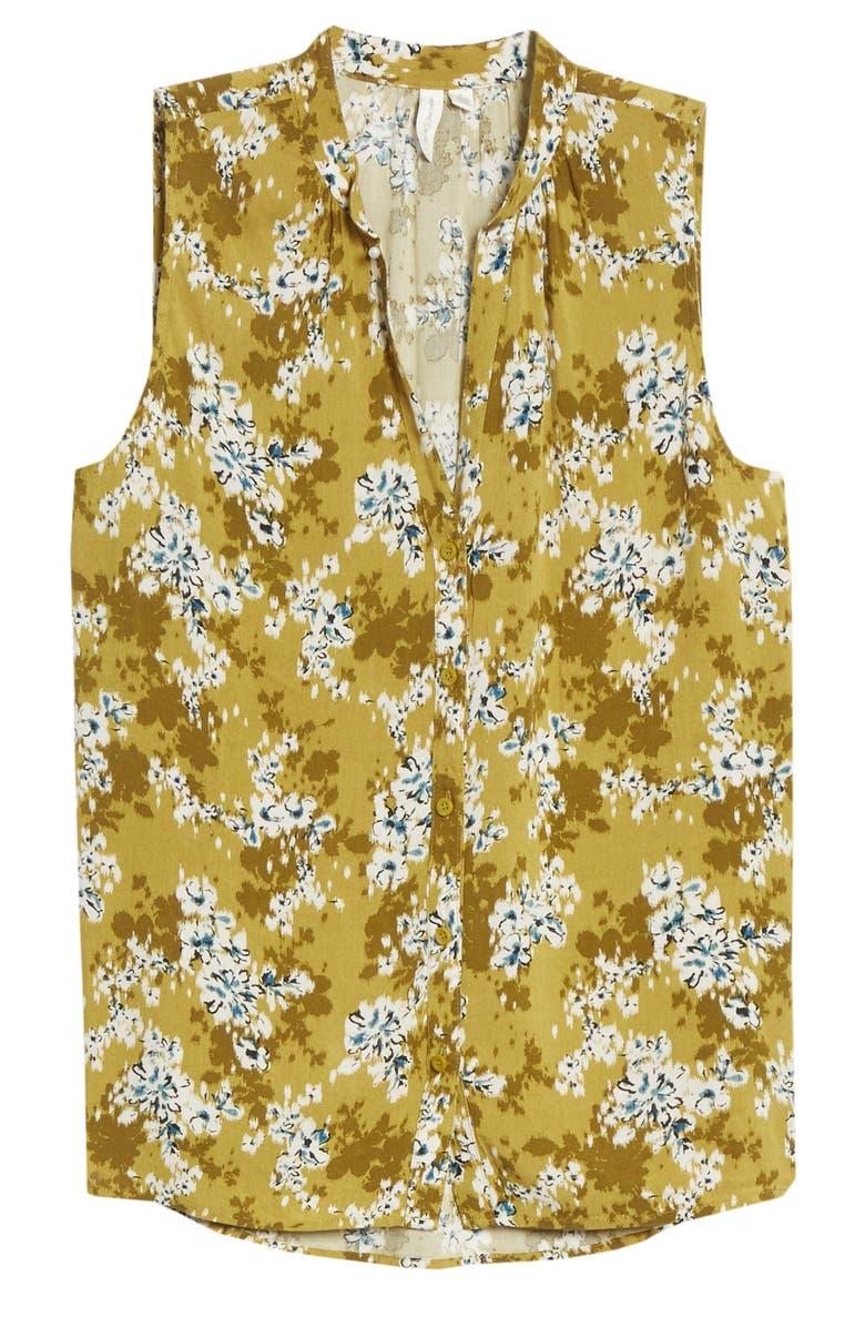 TREASURE & BOND Floral Print Sleeveless Shirt, Main, color, OLIVE- BLUE LARKSPUR FLORAL