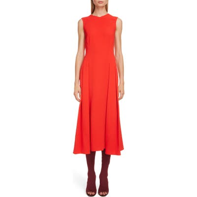 Victoria Beckham Textured Pleated Midi Dress, US / 14 UK - Red