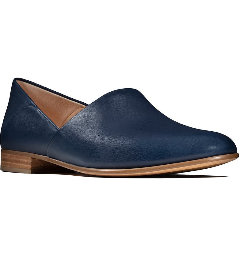 CLARKS<SUP>®</SUP> Pure Tone Flat, Main, color, NAVY LEATHER