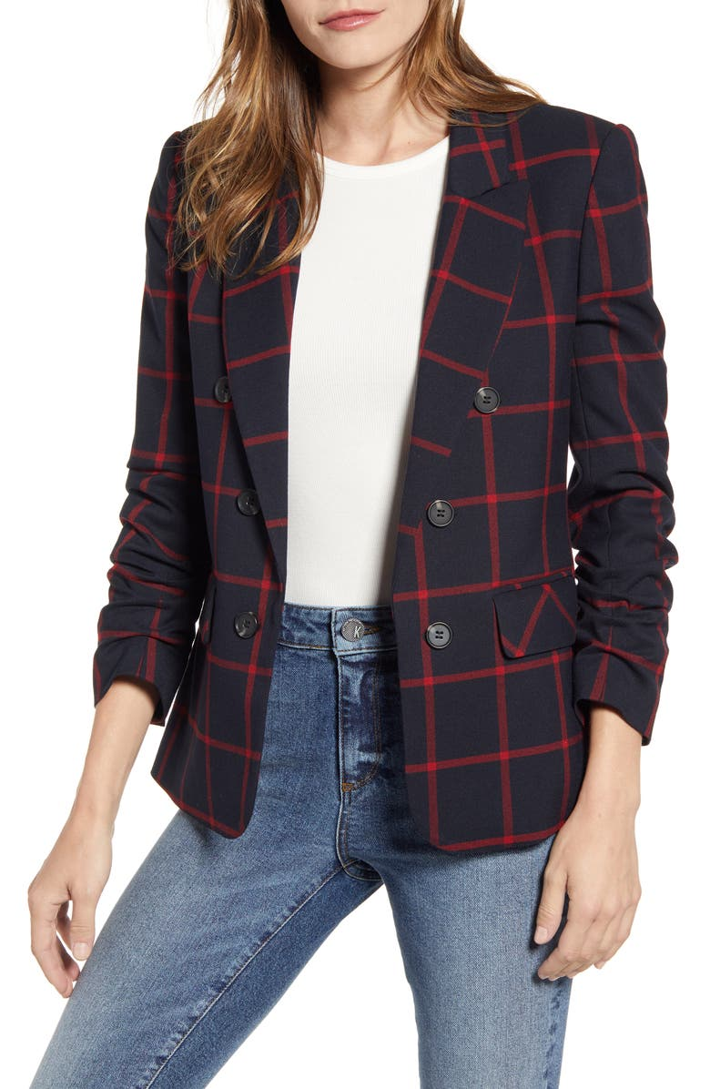 1.STATE Windowpane Check Ruched Sleeve Blazer, Main, color, RICH BLACK