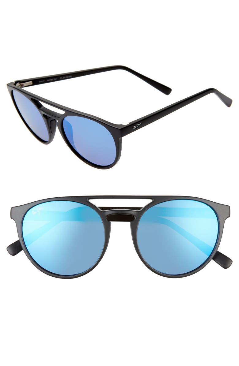 MAUI JIM Ah Dang! 52mm PolarizedPlus2<sup>®</sup> Flat Top Sunglasses, Main, color, MATTE BLACK/ BLUE HAWAII