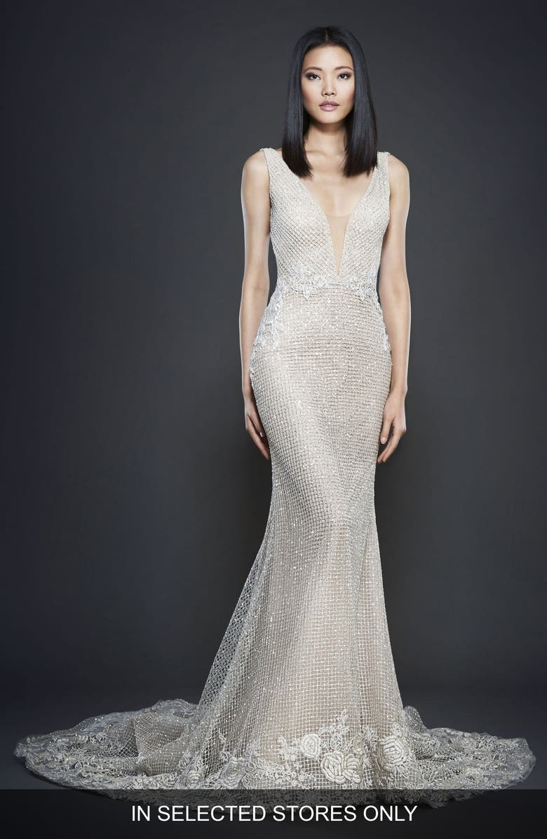 LAZARO Embellished Check Net Gown, Main, color, CHAMPAGNE