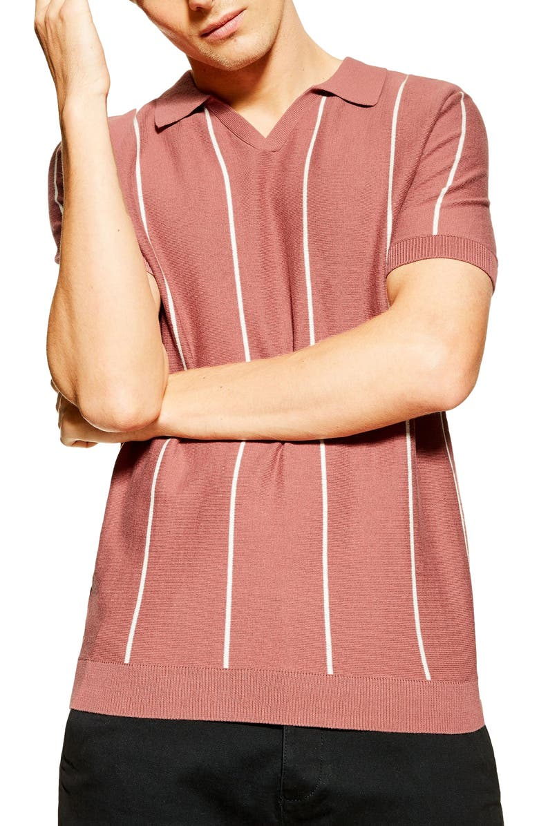 TOPMAN Stripe Johnny Collar Polo Sweater, Main, color, PINK MULTI