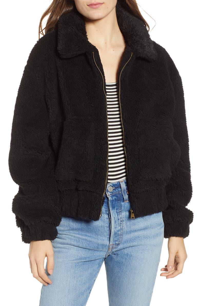 THREAD & SUPPLY Northy Faux Fur Jacket, Main, color, BLACK
