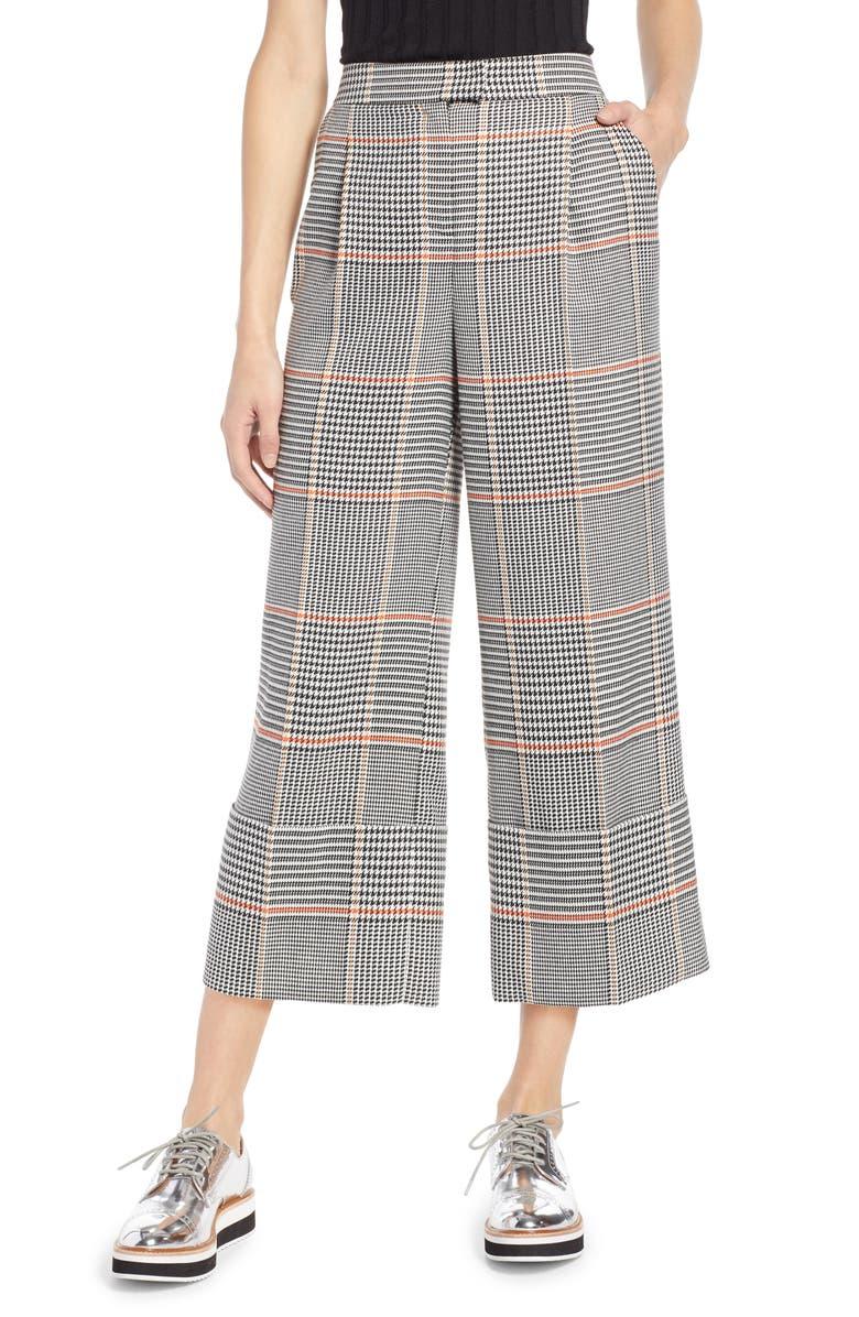 HALOGEN<SUP>®</SUP> x Atlantic-Pacific Plaid Wide Leg Crop Pants, Main, color, 001