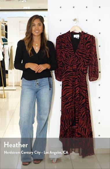 Selena Animal Print Ruffle Detail Midi Wrap Dress, sales video thumbnail