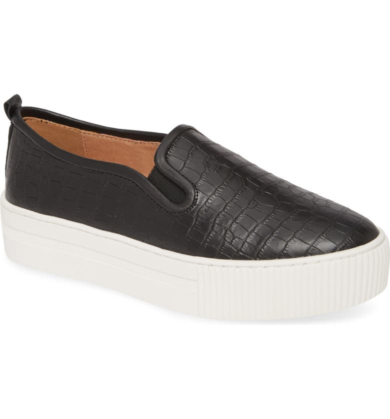 HALOGEN<SUP>®</SUP> Baylee Platform Slip-On Sneaker, Main, color, BLACK CROCO EMBOSS LEATHER