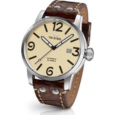 Tw Steel Maverick Automatic Leather Strap Watch, 4m