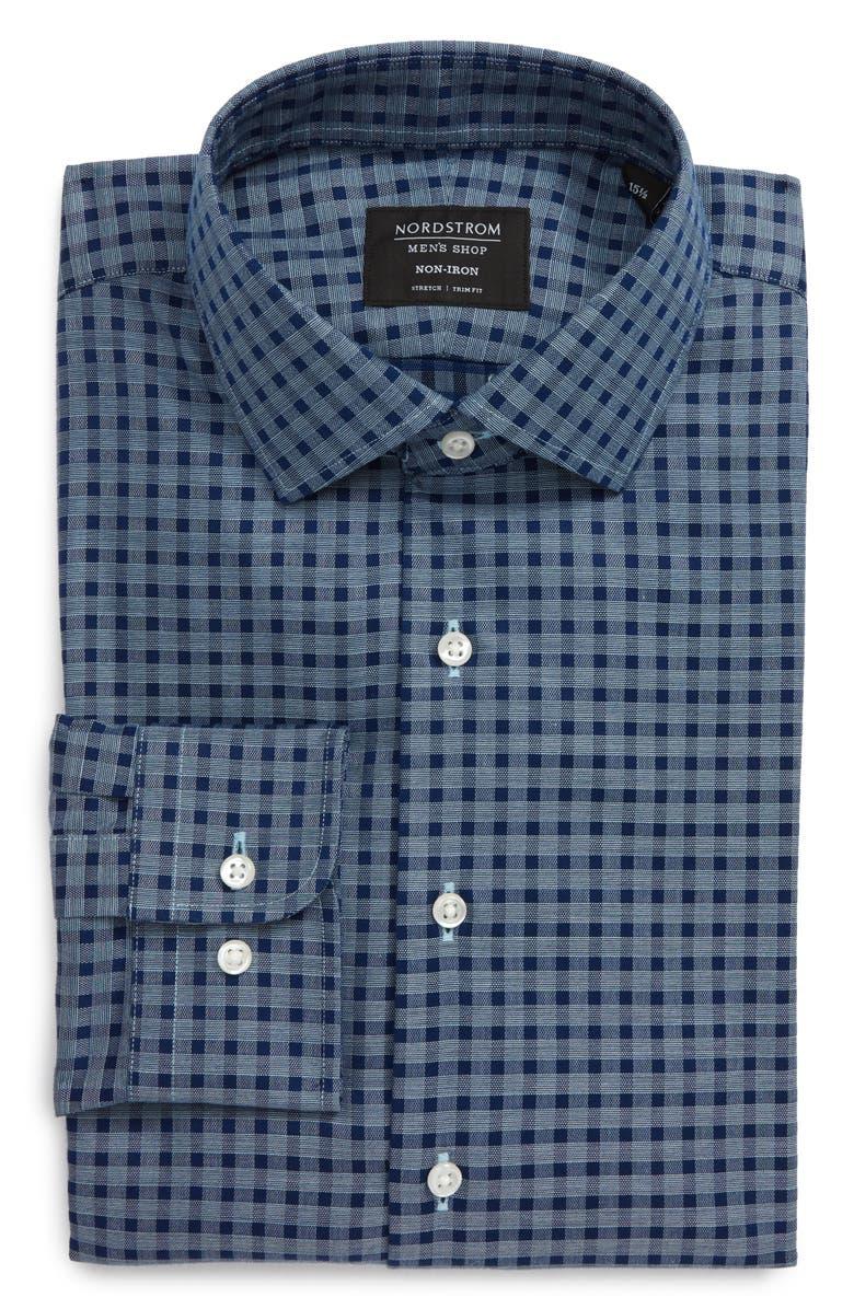 NORDSTROM MEN'S SHOP Trim Fit Non-Iron Dress Shirt, Main, color, BLUE ESTATE EOE PLAID
