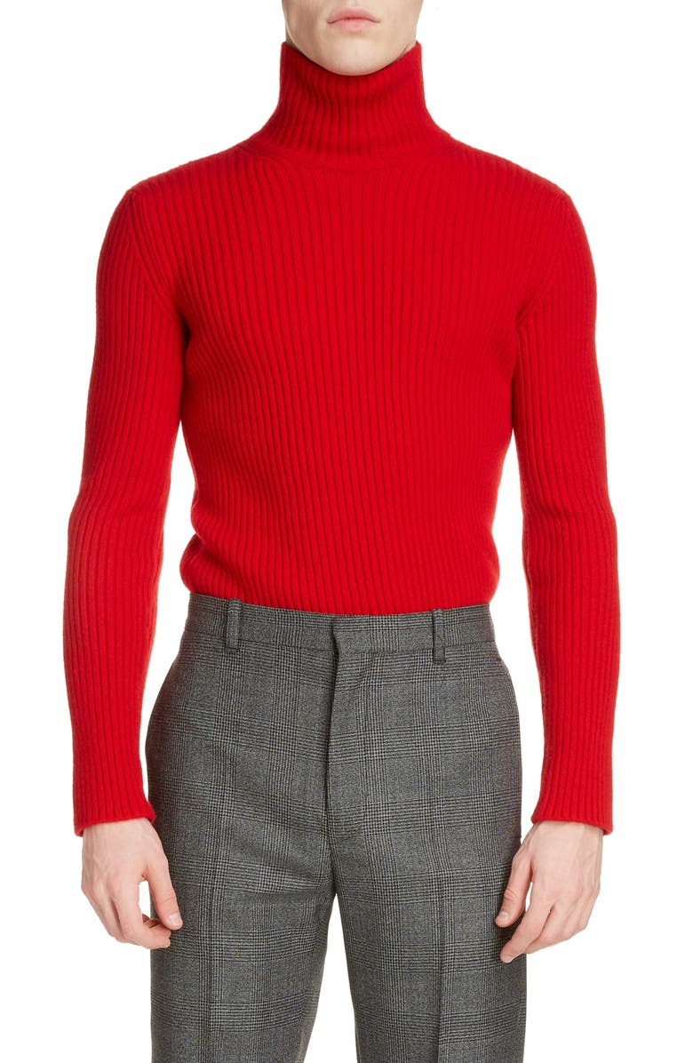 BALENCIAGA Solid Cashmere Blend Turtleneck Sweater, Main, color, RED
