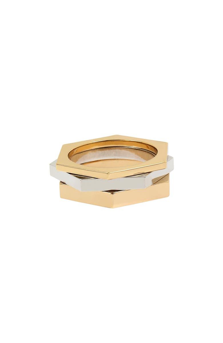 ALLSAINTS Hexagon Stacking Ring Set, Main, color, 710