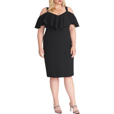 Plus Size Rachel Rachel Roy Cold Shoulder Scuba Dress, Black