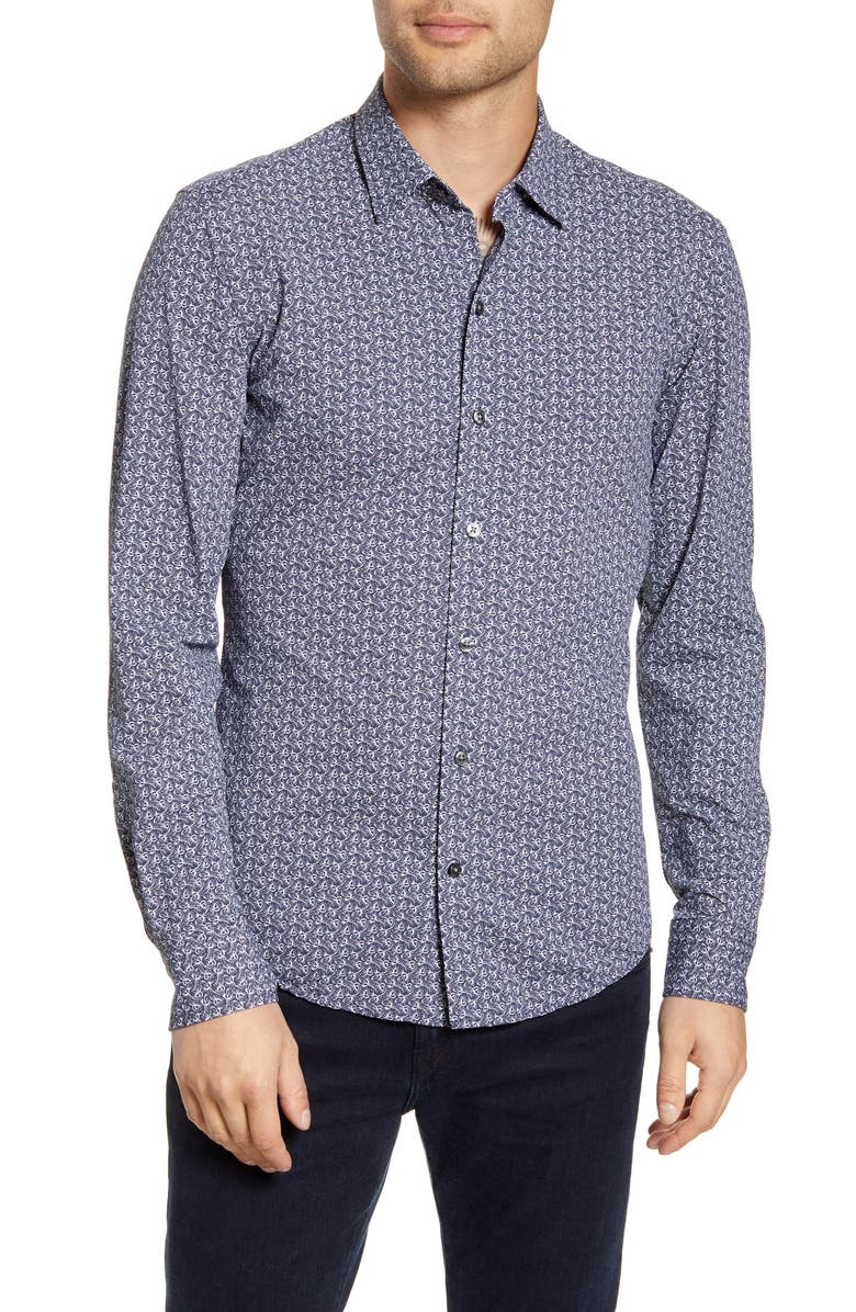 BOSS Robbie Sharp Fit Floral Print Button-Up Performance Shirt, Main, color, NAVY