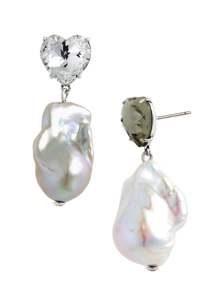 TORY BURCH Baroque Pearl & Crystal Earrings, Main, color, SILVER / BLACK DIAMOND