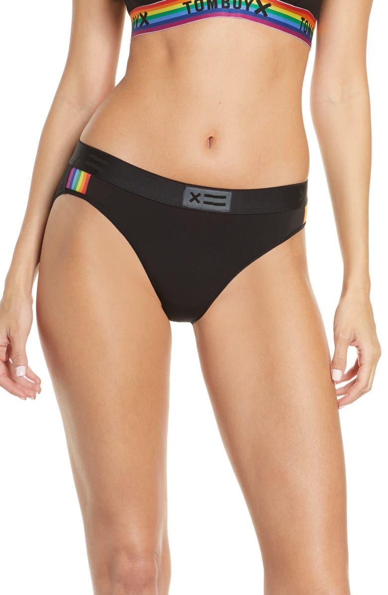 TOMBOYX Rainbow Trim Bikini, Main, color, BLACK RAINBOW