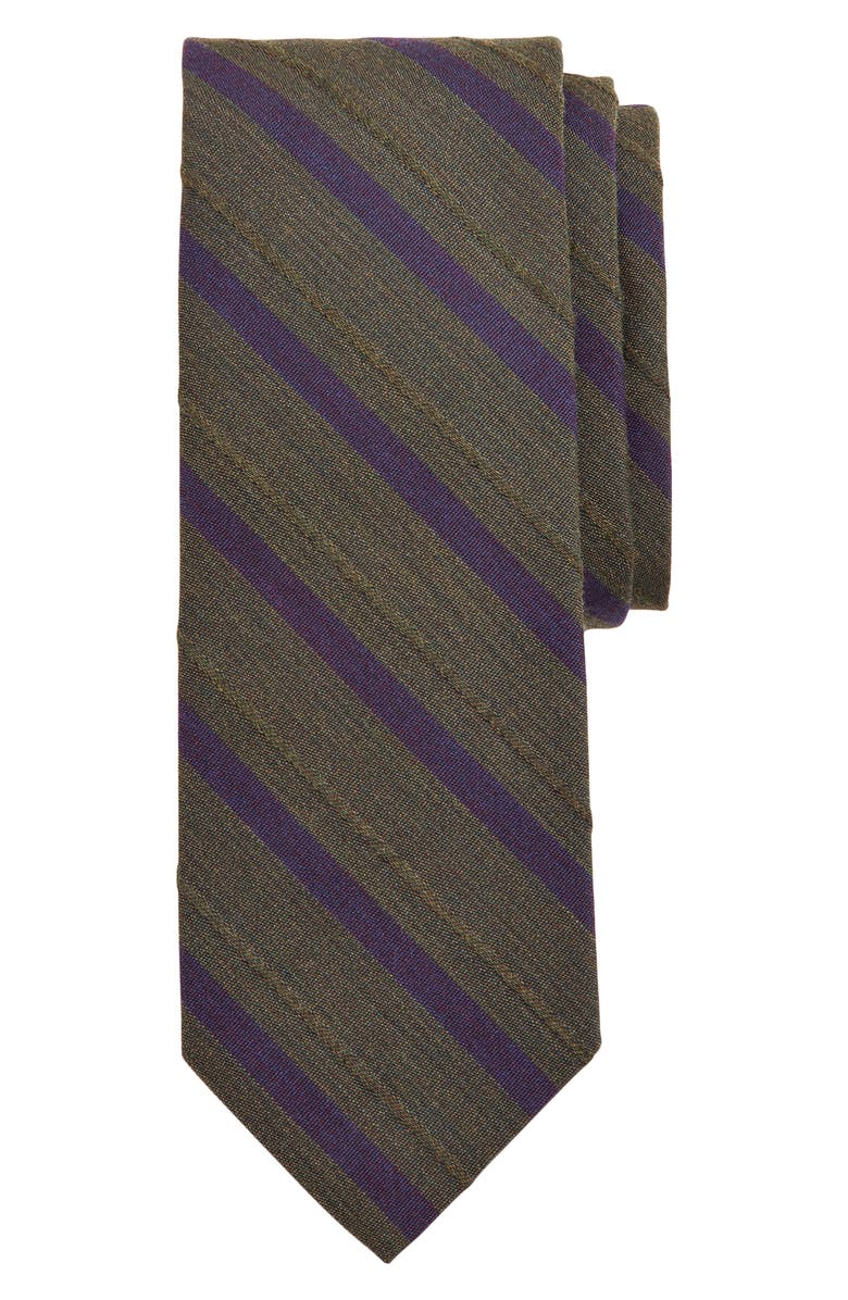 BROOKS BROTHERS Stripe Wool & Cotton Tie, Main, color, MEDIUM GREEN