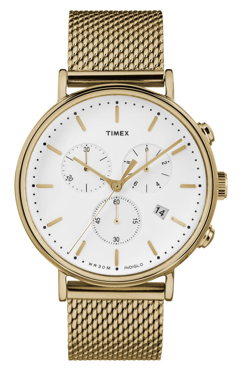 TIMEX<SUP>®</SUP> Fairfield Chronograph Mesh Strap Watch, 41mm, Main, color, GOLD/ WHITE/ GOLD