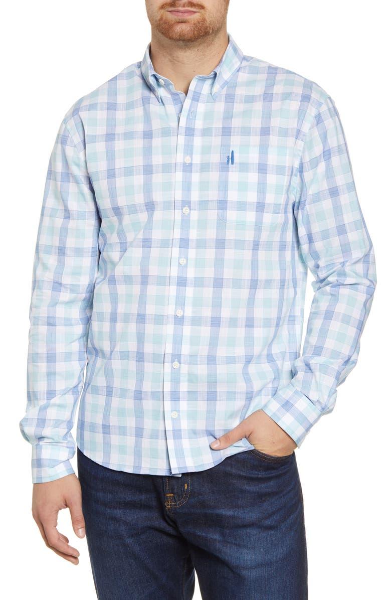 JOHNNIE-O Humphrey Classic Fit Check Button-Down Shirt, Main, color, DEEP WATER