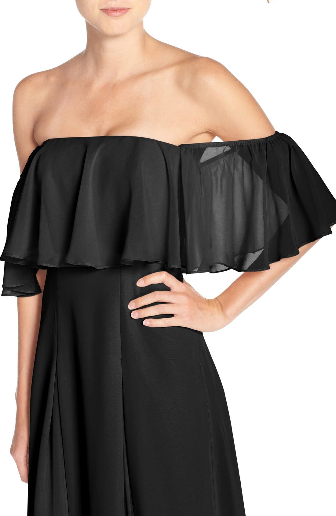 ,                             Off the Shoulder Chiffon Gown,                             Alternate thumbnail 7, color,                             001
