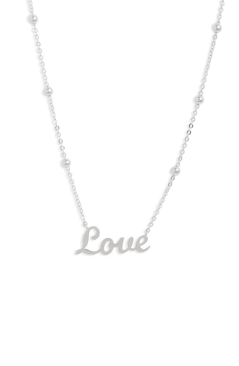 ARGENTO VIVO Love Pendant Necklace, Main, color, SILVER