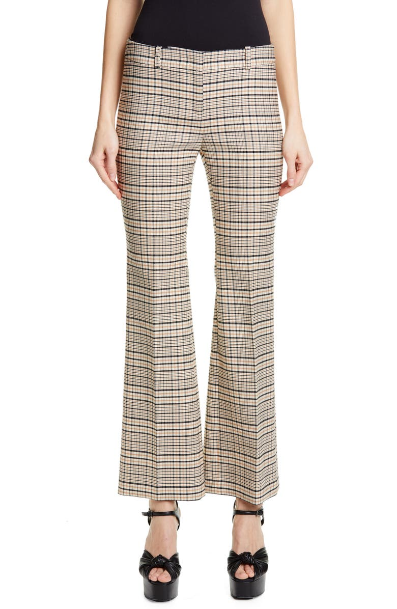MICHAEL KORS COLLECTION Michael Kors Plaid Crop Flare Leg Trousers, Main, color, SUNTAN/ BLACK