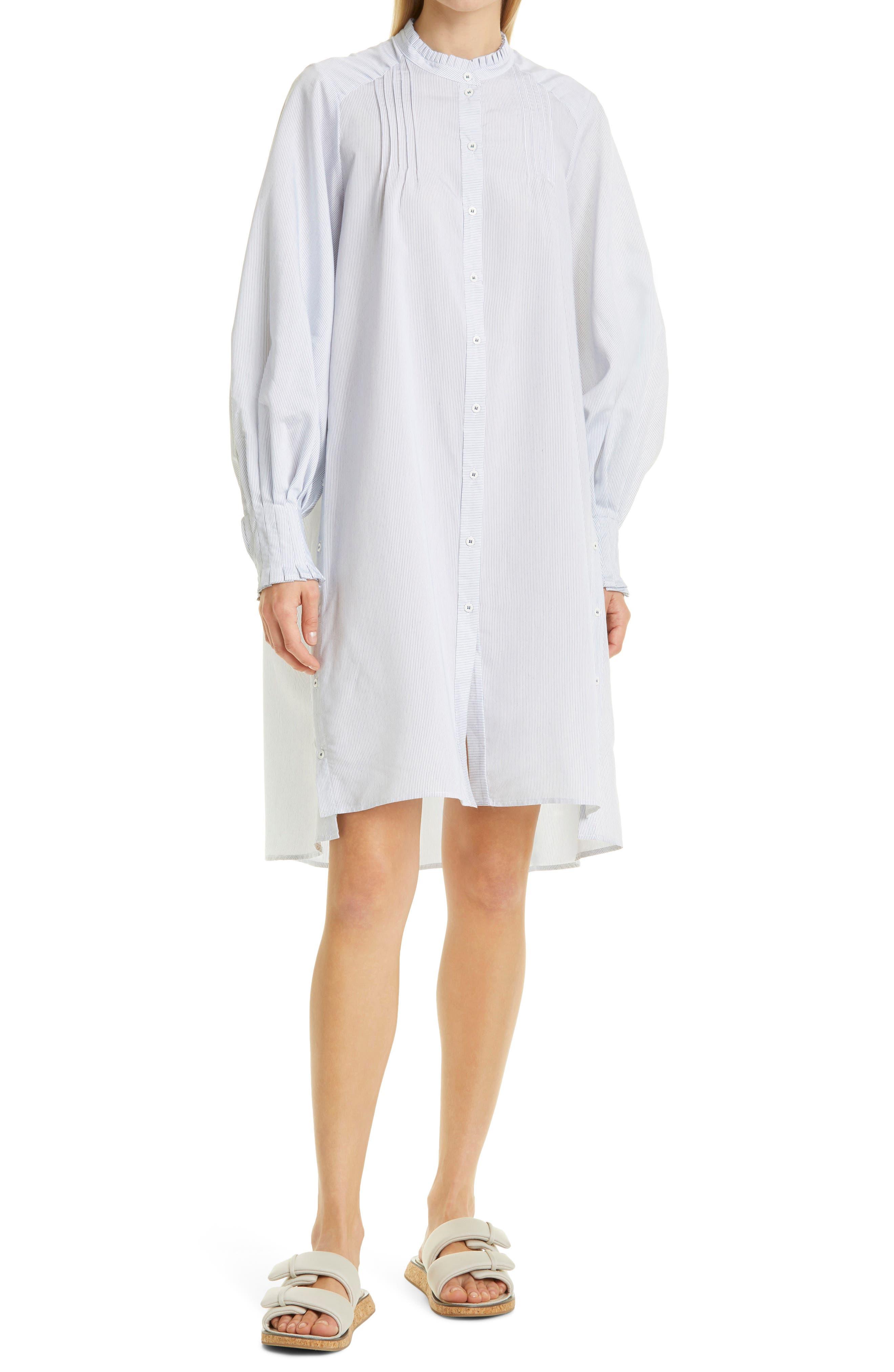 Pavonia Pinstripe Long Sleeve Shift Dress