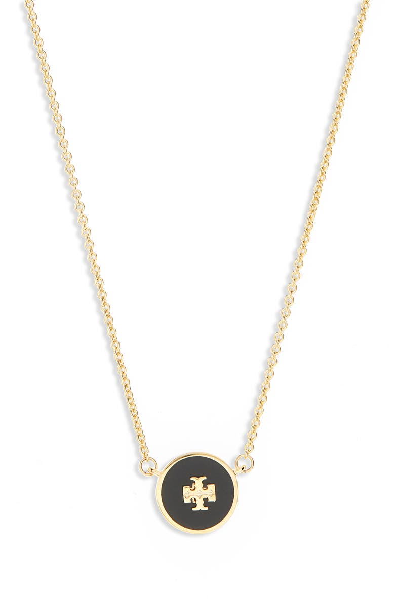 TORY BURCH Enamel Pendant Necklace, Main, color, TORY GOLD / BLACK