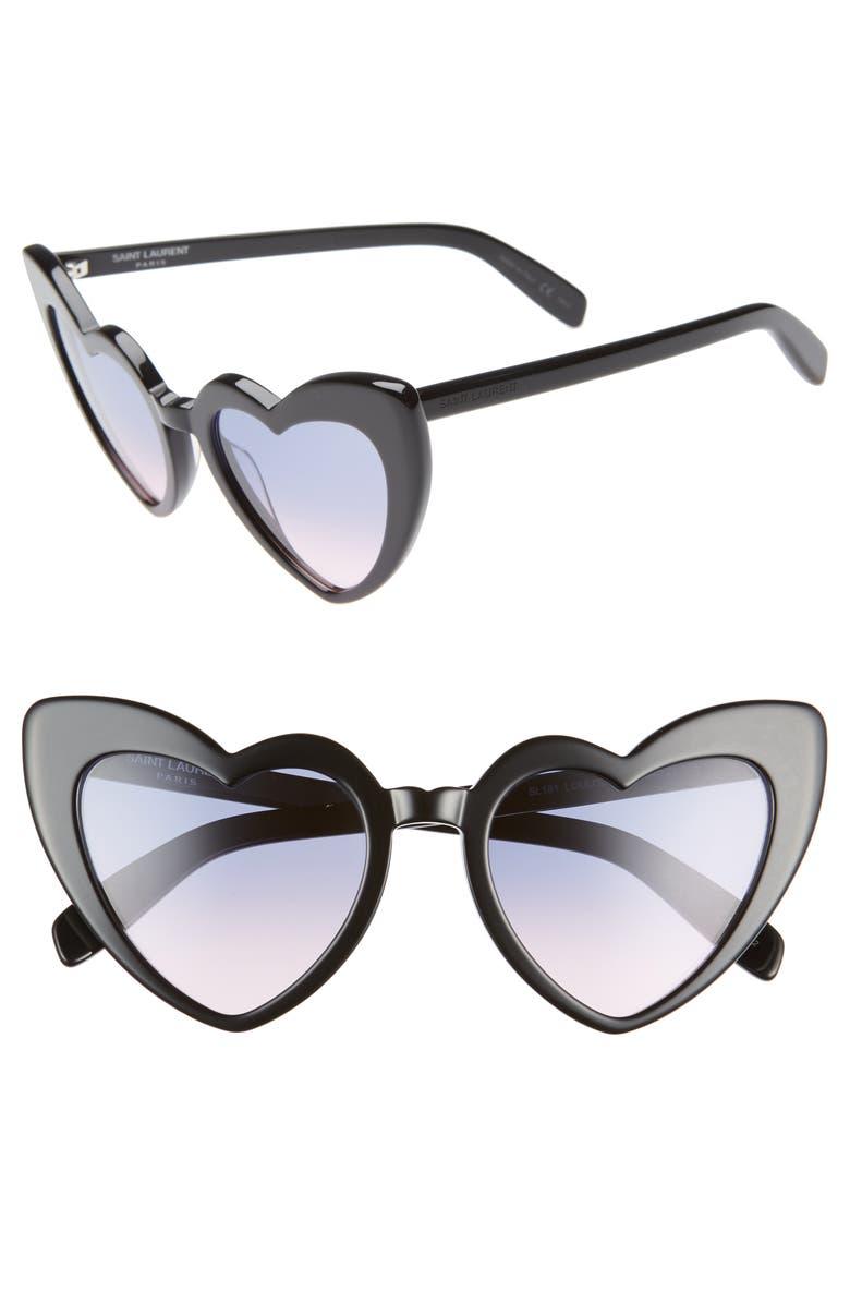 SAINT LAURENT Loulou 54mm Heart Sunglasses, Main, color, SHINY BLACK/ VIOLET GRADIENT