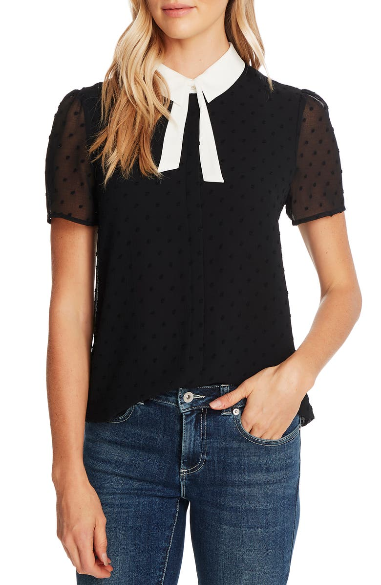CECE Collared Clip Dot Blouse, Main, color, RICH BLACK