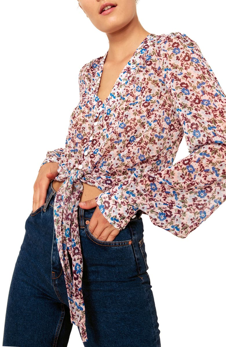 THE EAST ORDER Sophie Print Blouse, Main, color, PEACH OASIS