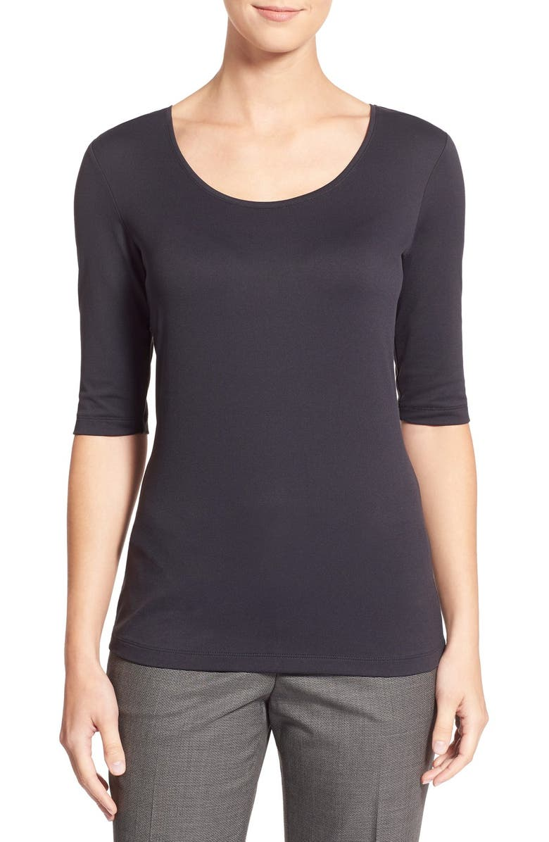 BOSS Scoop Neck Stretch Jersey Top, Main, color, BLACK