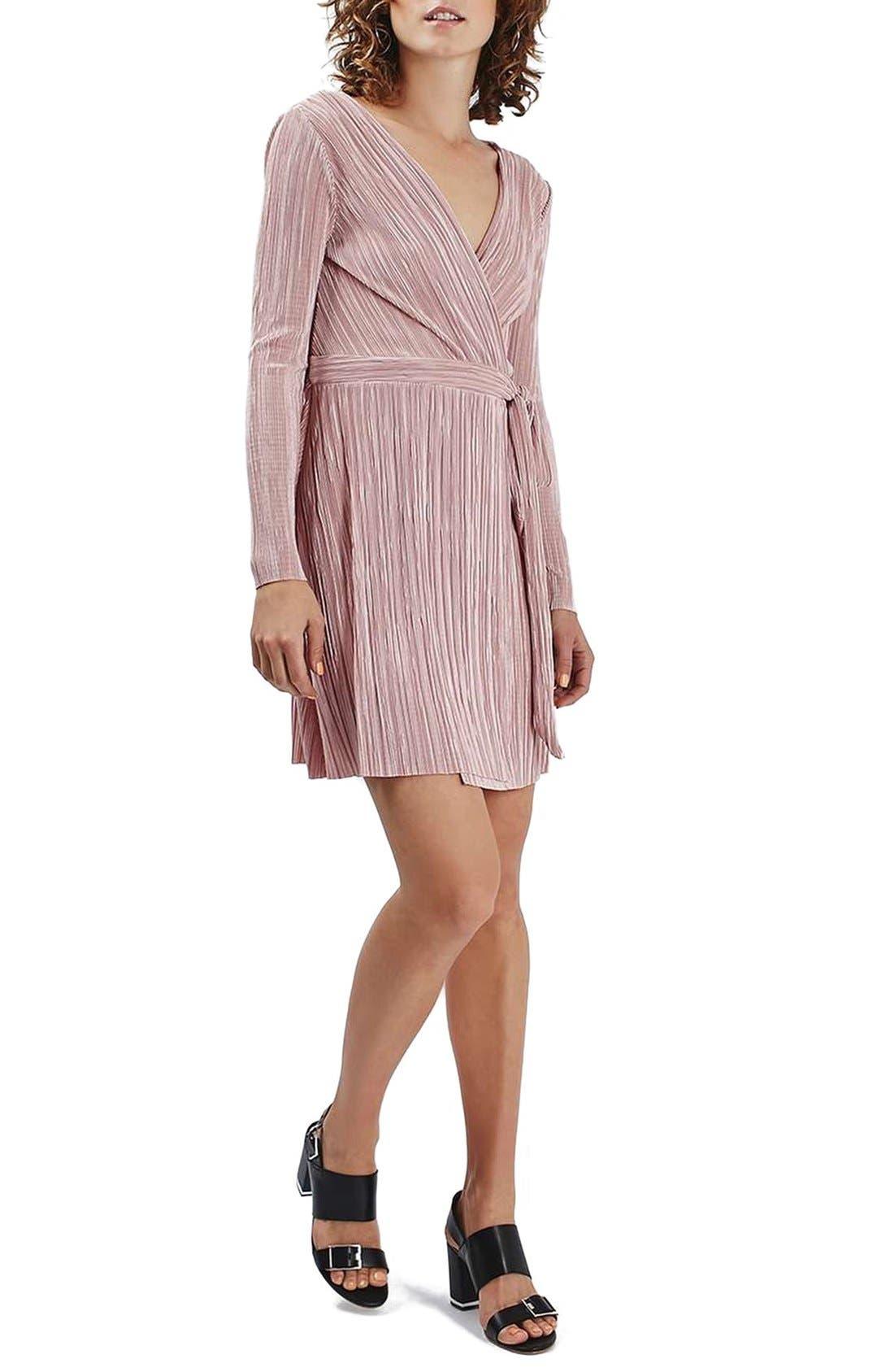 Plissé Wrap Minidress, Main, color, 250