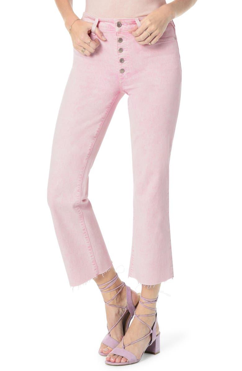 JOE'S Wyatt Button Fly High Waist Raw Hem Crop Flare Jeans, Main, color, PINK POWER