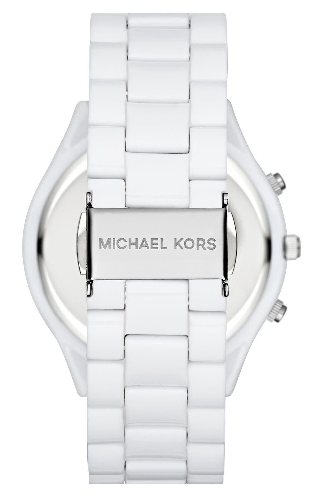 ,                             Michael Kors 'Slim Runway' Chronograph Bracelet Watch, 42mm,                             Alternate thumbnail 9, color,                             100